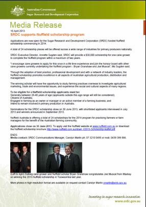 SRDC Nuttfield Scholarship